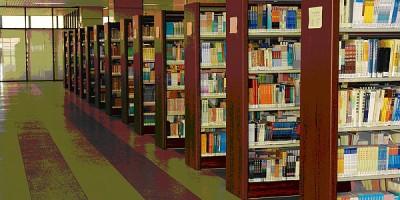 广东工业大学大学城校区图书馆五层书架
