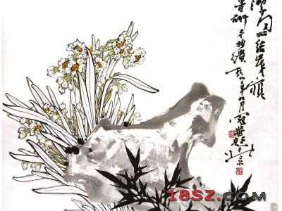 国画竹石水仙图