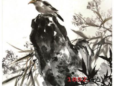 国画微湖鸟石图