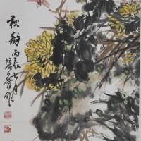彩墨菊花-秋韵(竖卷轴)